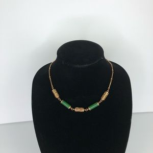 Sarah Coventry Faux Jade and Gold Necklace